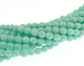 50 6mm LIGHT TURQUOISE OPAQUE Firepolish Czech Glass Beads Light Blue Green Beads 6mm Beads Faceted Fire Polished