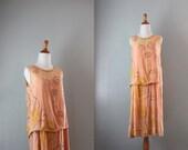 1920s Dress / 20s Beaded Flapper Gown / Vintage Silk Chiffon Beaded 20s Dress