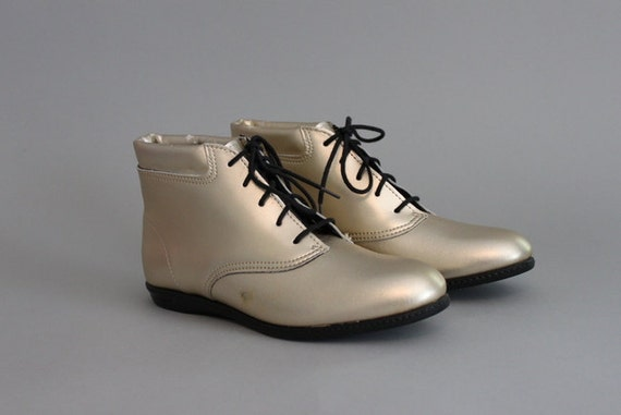 Vintage Ankle Boots / 80s Metallic Gold Leather Oxford Boots / 80s Granny Boots