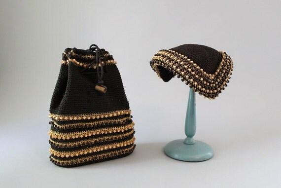 Vintage 40s Bag / Vintage Hat / 1940s Purse and Hat Set / Corded Drawstring Bag / Beaded Hat