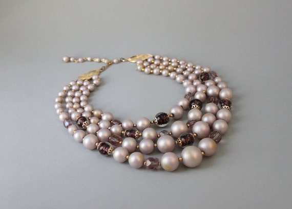 1960s Statement Necklace / Vintage 60s Multi Strand Beaded Necklace