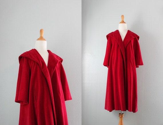 1950s Coat / Vintage 50s Scarlet Red Swing Coat / 50s Red Velvet Hooded Coat