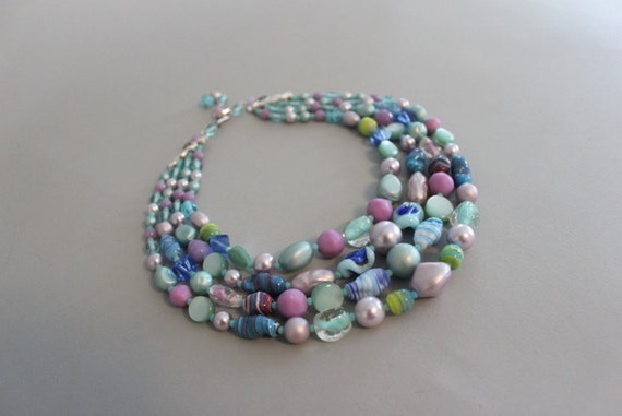 Vintage 1960s Necklace / 60s Glass Beaded Necklace / Multi Strand Statement Necklace