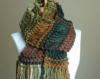 Green Brown Toffee Chunky Knit Fringe Scarf, Women Scarf, Vegan Scarf, Knitted Scarf, Woodland Scarf, Original Design in Drop Stitch