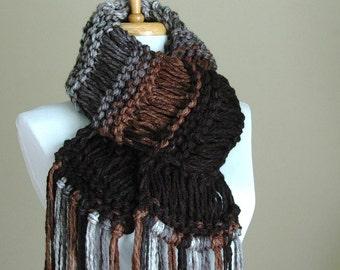 Black Brown Gray Chunky Knit Scarf, Knit Fringe Scarf, Women Winter Scarf, Oversized Scarf, Original Design, Drop Stitch Scarf, Black Scarf