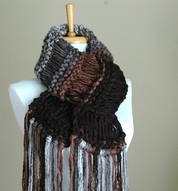 Black Brown Gray Chunky Scarf, Knit Fringe Scarf, Women's Winter Scarf, Oversized Scarf, Original Design in Drop Stitch Scarf, Black Scarf