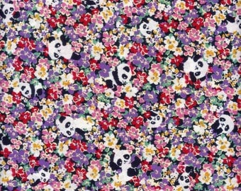 Half Yard Japanese Cotton Fabric Panda Peek A Boo in Meadow Flowers 4 colors to choose
