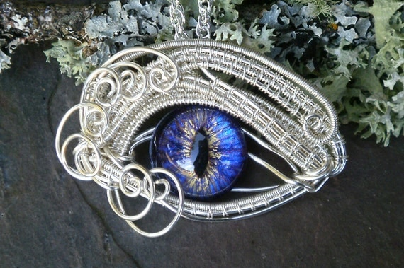 Gothic Steampunk Evil Eye Pendant with Purple Blue glass eye