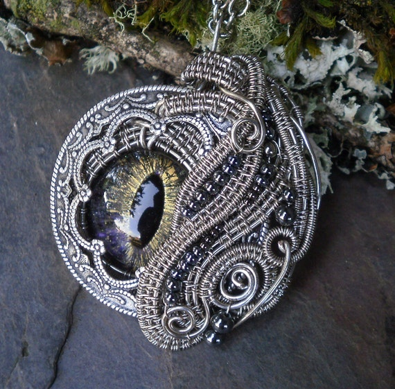 Gothic Steampunk Evil Eye Pendant With Color Shifting Glass