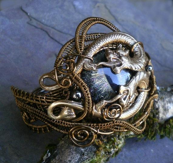 SOLD Gothic Steampunk Double Dragon Cat Evil Eye Bracelet 6 plus