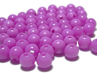 6mm Smooth Round Acrylic Beads in purple rose 100pcs