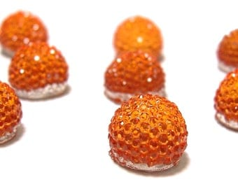 10mm flatback ball cabochon resin rhinestone half bead in Orange