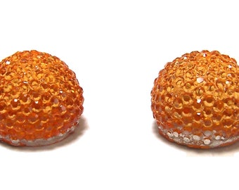 14mm flatback ball cabochon resin rhinestone half bead in Orange 2pcs