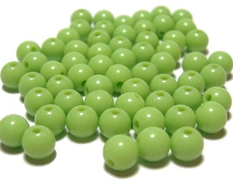 6mm Smooth Round Acrylic Beads in Light Olive 100pcs