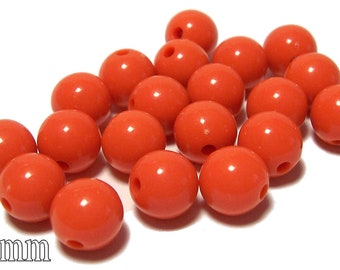10mm Opaque acrylic plastic beads in Orange 20 beads
