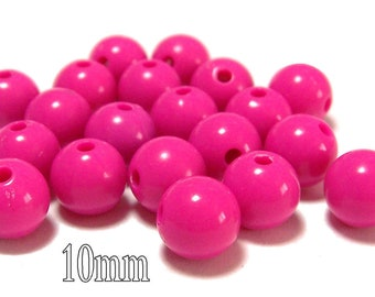 10mm Opaque acrylic plastic beads in Hot Pink 20 beads