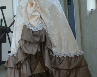 Ivory Floral Tapestry Lace Ruffled Bustle Skirt