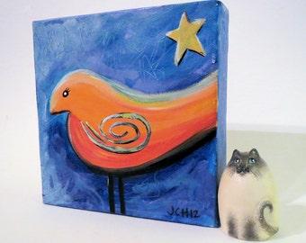 "Star Bird Original Acrylic Painting Mini Canvas 6"" x 6"""