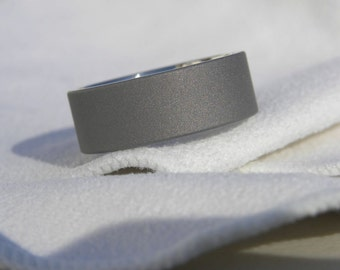 Titanium Ring or Flat Profile Sandblasted Wedding Band