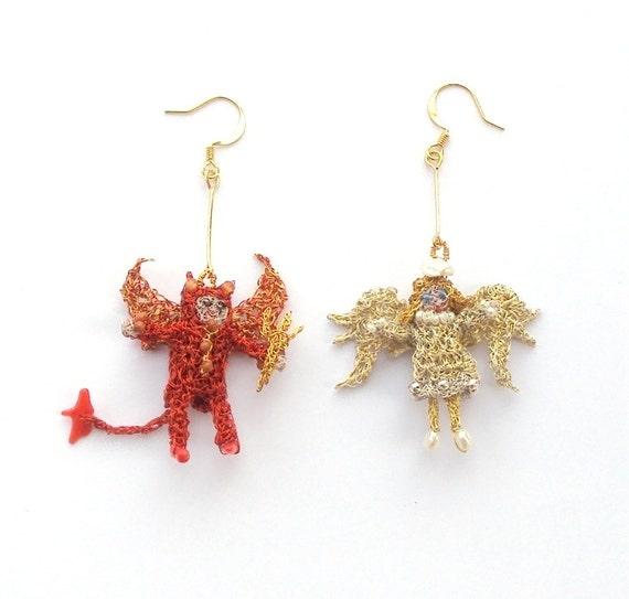 Angel and devil earrings