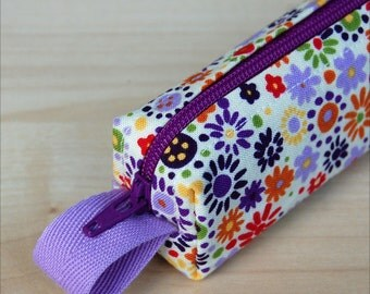 Water Color Flowers Bitty Bag (petite pencil or makeup case)