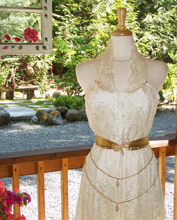 Victoria-Custom Couture Ivory Lawn Lace Wedding Gown-Antique Gold Hand crafted Beaded/Pearl Drop Waist Belt-CRBoggs Original Design