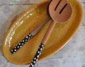 Mustard Tapas Platter - medium handmade oval platter - Wobbly Plates Series