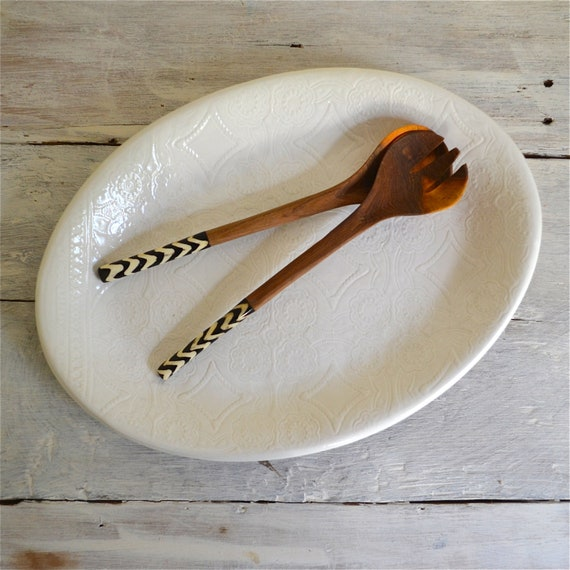 White Serving Platter  - large oval platter - stoneware - Wobbly Plates Series