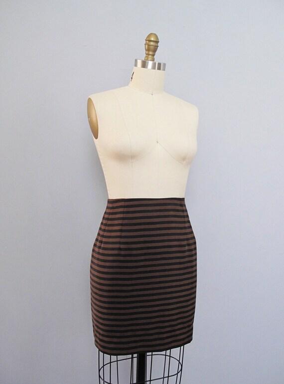 s a l e vintage SILK striped black - brown mini skirt M