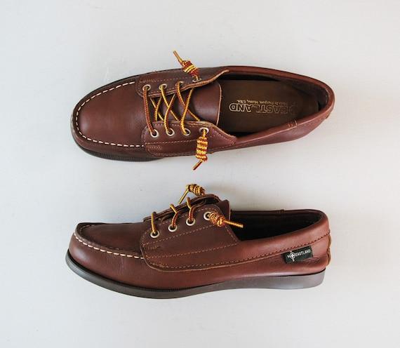 vintage EASTLAND brown leather deadstock boat shoes 8