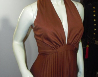 Just Reduced....Vintage 70's Maxi Marilyn Monroe Bust Line Accordion Floor length Gown With Spaghetti Strap Belt