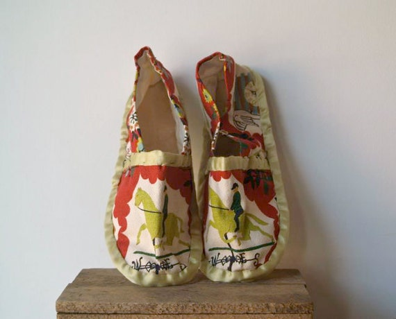 Vintage Handmade Slippers With Equestrian Print