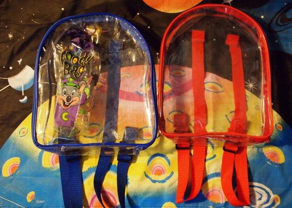 RED & BLUE// Vintage 90s Clear Plastic See Thru Set of 2 Mini Backpacks, with BONUS
