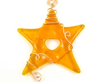 Tangerine Orange Fused Glass Star Suncatcher