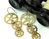 Gear Earrings Steampunk Long Industrial Designed By Mystic Pieces