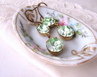 Mint earrings with vintage Swarovski chrysolite rhinestones