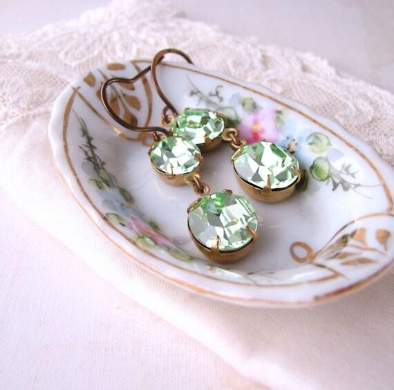 Mint earrings with vintage Swarovski chrysolite rhinestones