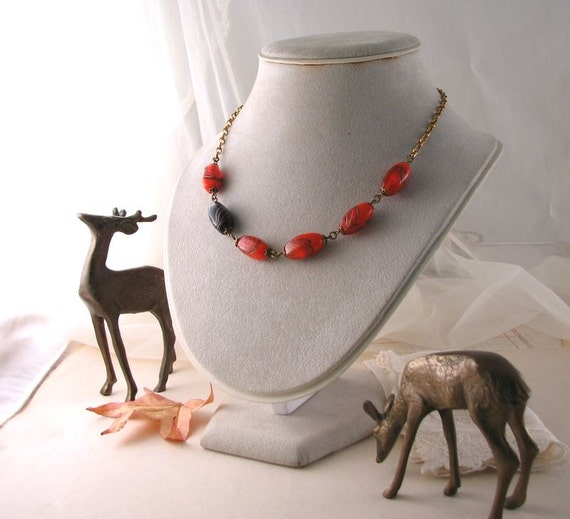 Halloween necklace vintage glass bead orange and black