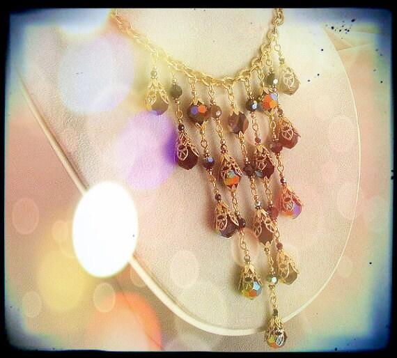 Bib Statement necklace NIGHTFALL drippy Swarovski black AB crystal