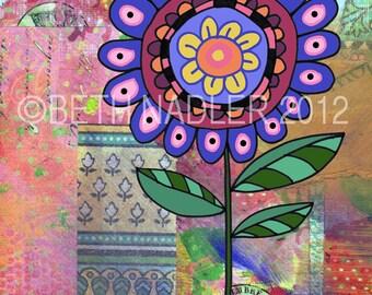 One Big Flower--Funky, Boho Wall Art Print