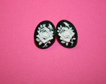 Small Black Rose Cameo Earrings