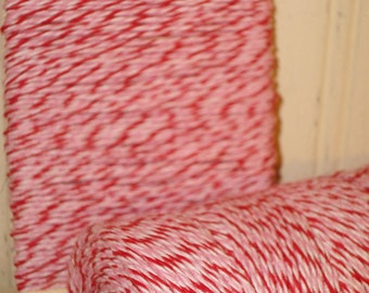 Peppermint - Red Pink and Bright White  Baker's Twine - 20 Yards