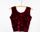 Burgundy Velvet Crop Top Grunge Revival- Size Small