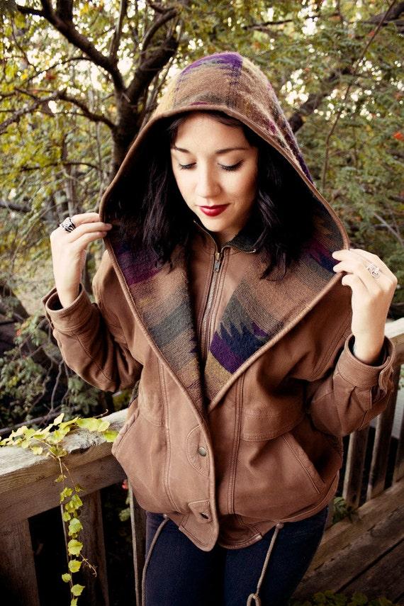 Vintage Brown Leather Southwest Print Bomber Jacket Thinsulate UNISEX
