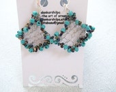 Wire knit earring with Turquoise gemstone chandelier look