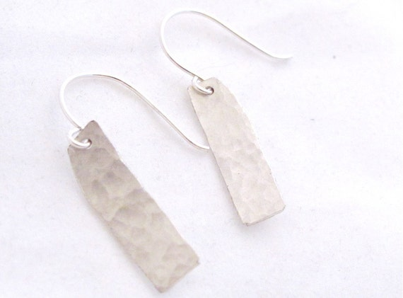 Sterling Silver Hammered Rectangle Drop Earrings