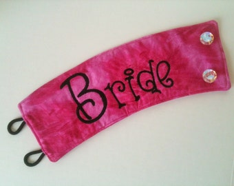 Bride Embroidered Coffee Cozy in Your Choice of Color and Black Stitching