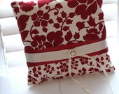 Red & Cream Large Floral/Mini Floral Ring Bearer Pillow
