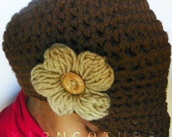 The Puff Flower Brimmed Beanie - In Chocolate Brown  w/Satin Lining Option