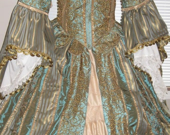 DDNJ Choose Color Renaissance Fantasy Gown OOAK 6 pc U Design Custom Made ANY Size Wedding Queen Princess Mardigras Court Plus Size